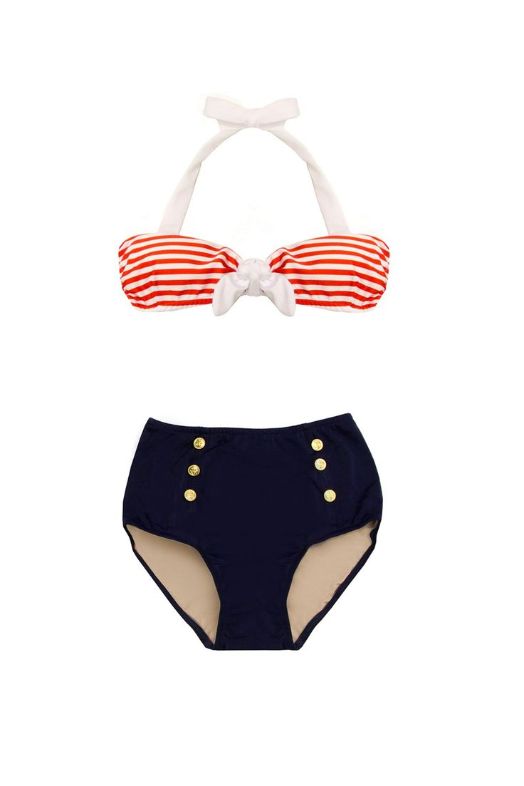 SAILOR BIKINI. I think I just died and went to high waisted bikini heaven! Holy Jesus this is amazing.