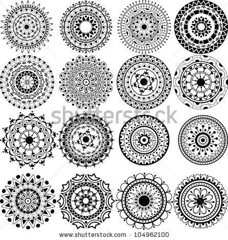 lace tattoo   Set Of Beautiful Mandalas And Lace Circles Stock Vector 104962100 ...