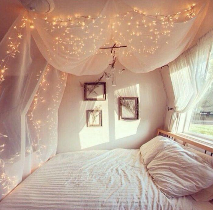 Die besten 25+ Schlafzimmer lichterkette Ideen auf Pinterest - platzsparend bett decke hangen