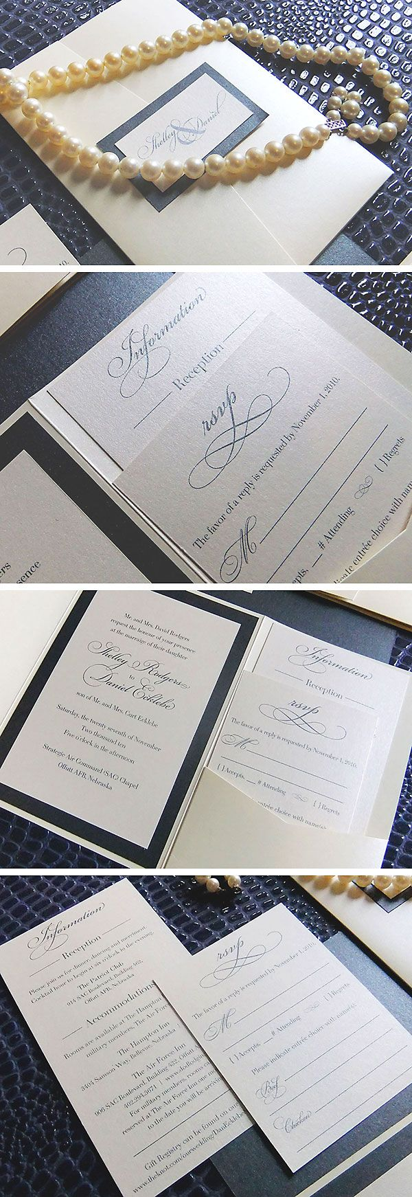 Traditional Wedding Invitations from Emily Edson Design https://www.etsy.com/listing/66011394/the-jessica-pocketfold-invitation-25?ref=shop_home_active Pocketfold Invites, Navy and Pearl Wedding, Elegant Wedding Invitations