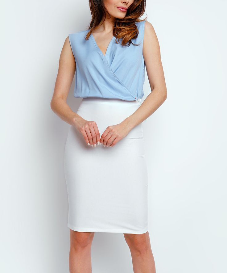 Take a look at this Foggy Ecru & Blue Surplice Dress today!