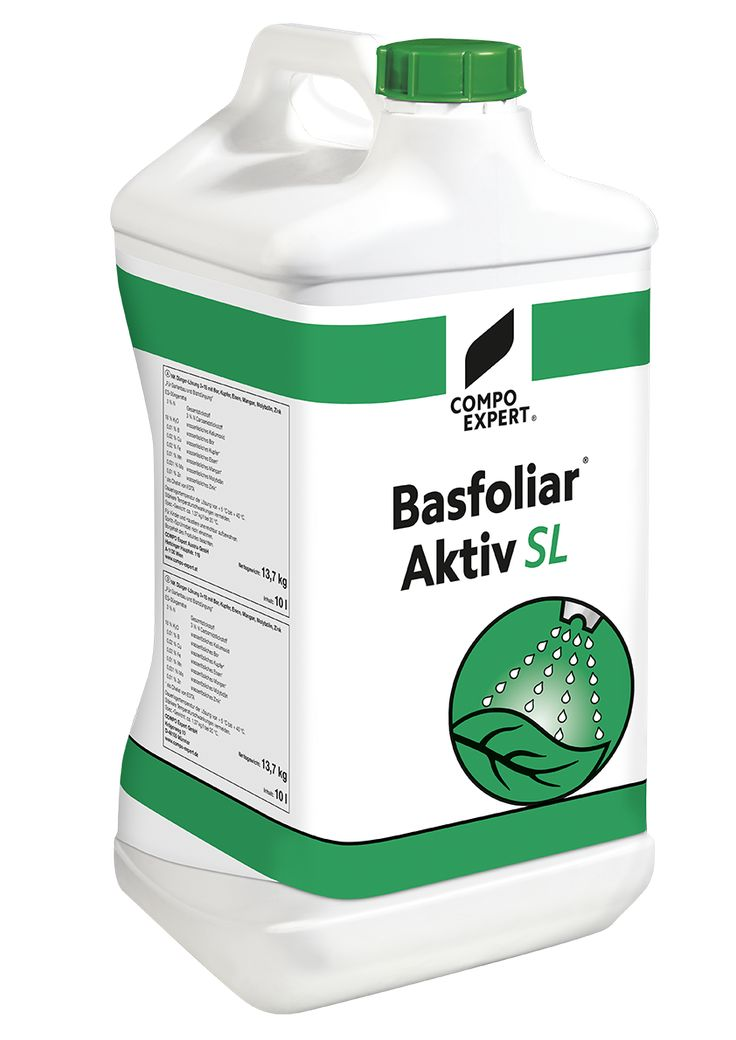 Basfoliar Aktiv Υγρό οργανο-ανόργανο ΝΡΚ λίπασμα που περιέχει εκχυλίσματα φυκιών Echlonia maxima και ιχνοστοιχεία σε χηλική EDTA μορφή. Πλούσιο σε φυτικές ορμόνες, αμινοξέα και βιταμίνες. Κατάλληλο για διαφυλλική εφαρμογή αλλά και υδρολίπανση σε κάθε καλλιέργεια.  Σύνθεση: 3,0% συνολικό άζωτο (ουρικής μορφή), 27,0% Ρ2Ο5, 18,0% Κ2Ο, 0,01% Β, 0,02% Cu*, 0,02% Fe*, 0,01% Mn*, 0,001% Mo, 0,01% Zn*, 3% οργανική ουσία.  * EDTA χηλική μορφή.  Συσκευασία: δοχείο των 10 λίτρων, χαρτοκιβώτιο 6 Χ 2,5…