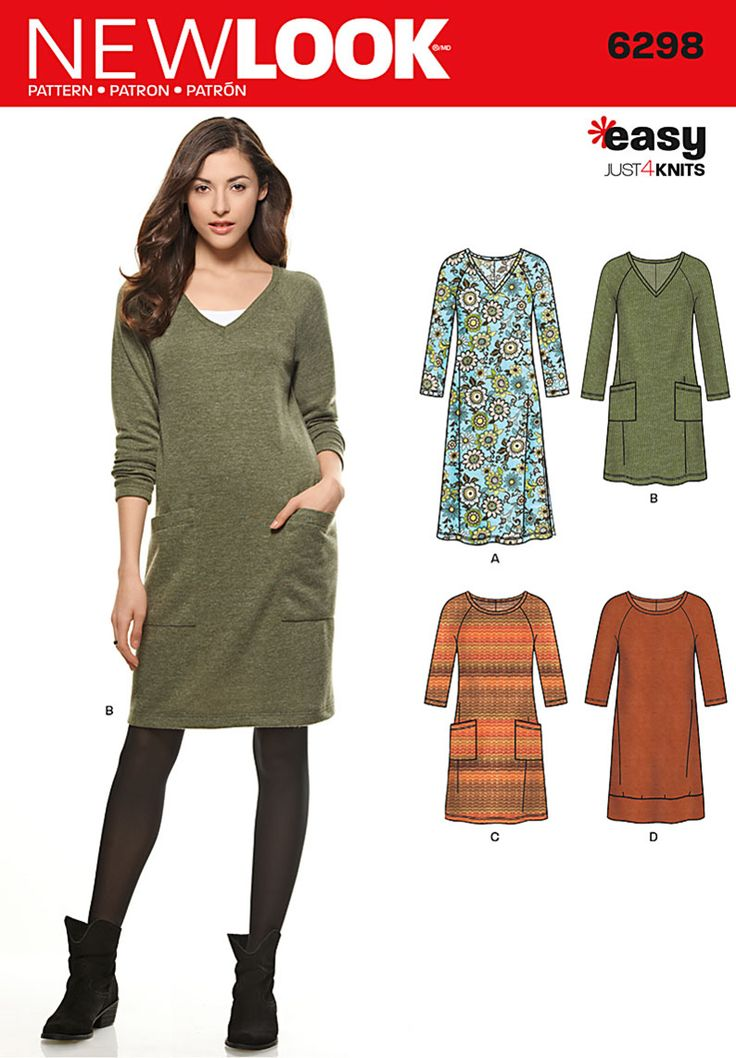 Simplicity Creative Group - Misses' Knit Dress with Neckline & Length Variations <br>