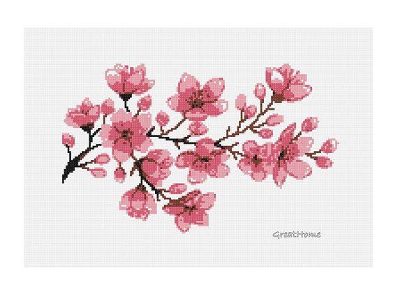 Large Cherry Blossom Cross Stitch Chart Pattern PDF by GreatHome, $4.00