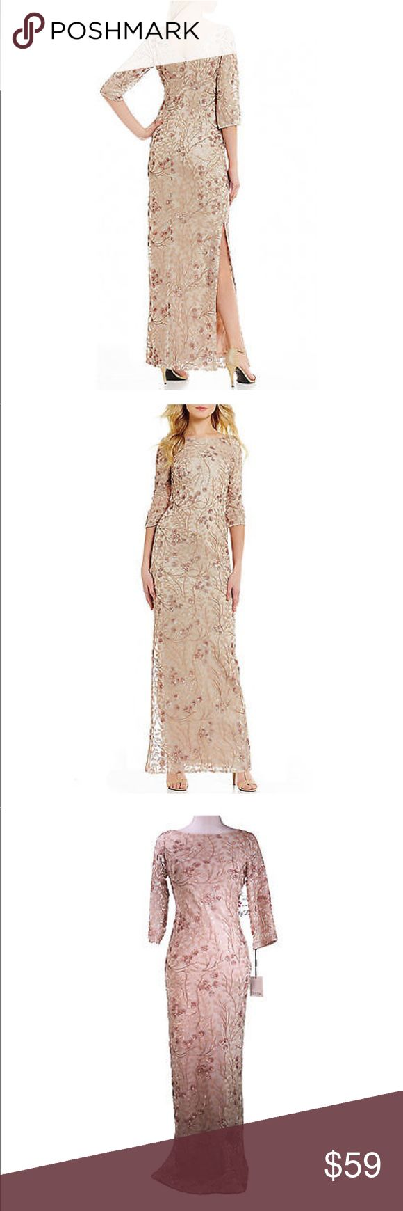Calvin Klein sequin column dress Calvin Klein floral sequin dress. 3/4 sleeve and daring slit up the leg. Beautiful champagne tone gown. New with tags Calvin Klein Dresses