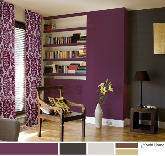 grape juice purple living room with charcoal wall - Purple Living Room