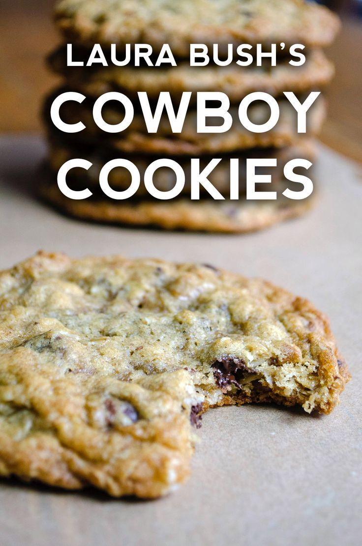 Laura Bush S Cowboy Cookies In 2020 With Images Cowboy Cookie