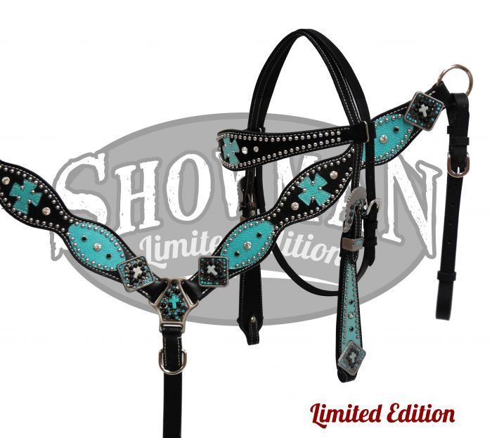 This Limited Edition set by Showman features smooth black leather that is accented with silver studs, crystal rhinestones and turquoise textured leather overlays and crosses. Hardware and conchos are