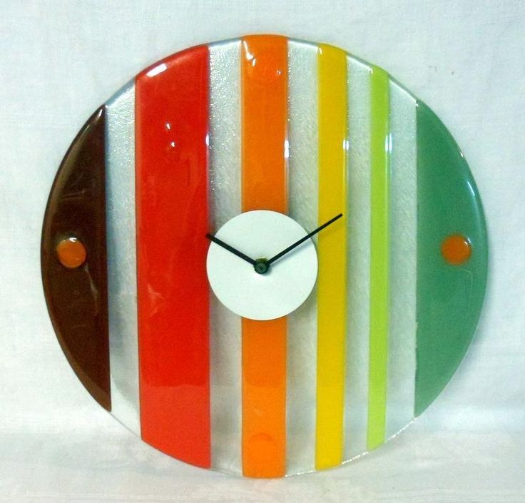 Mid Century Modern Fused Art Glass Clock | eBay. Could replicate in wood