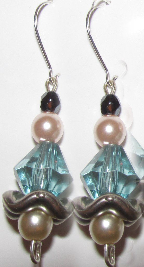 Black Crystal Pearls and Light Blue Crystal Earrings