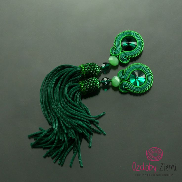 Clip on Tassel Long Emerald Green Soutache Earrings - Long Unique Green Earrings - Boho Earrings - Orecchini Soutache - Green Clip on Tassel by OzdobyZiemi on Etsy