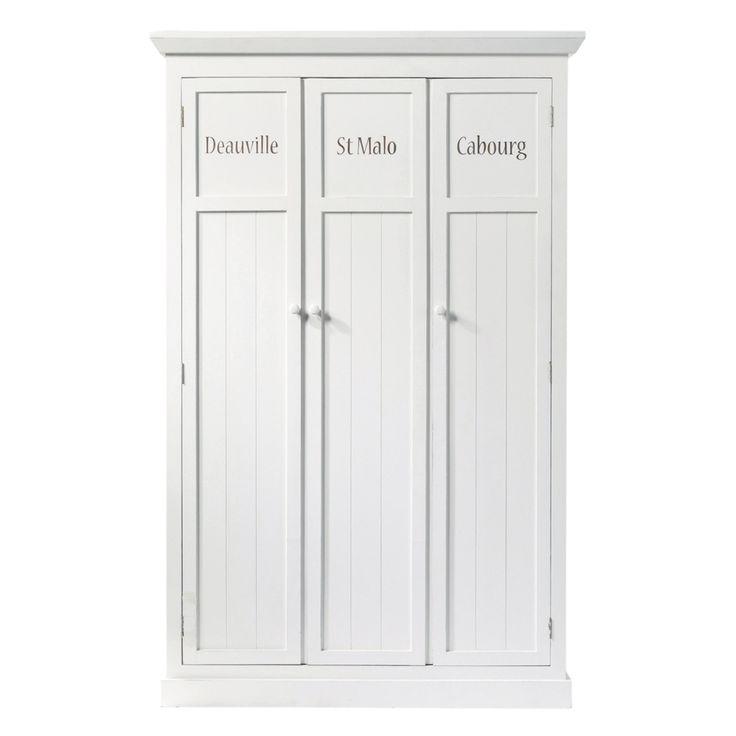 Guardaroba bianco in legno L 125 cm Newport