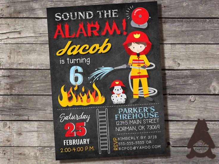 Firefighter Invitation, Fireman Birthday Party, Firefighter Party Invitation, Fireman Invitation, Printable Invitation for Boys Birthday by RockCreekPaperCo on Etsy