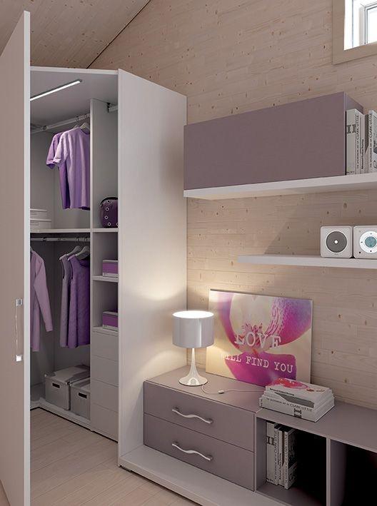 #cabina Wide L1545x1070 mm. Esempio di completezza ed efficienza, un'unica cabina diventa un capiente guardaroba. Team for Young www.moretticompact.com
