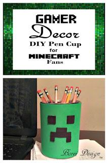 """Easy tutorial on how to make a recycled """"Creeper"""" pen or desk organizer cup."""