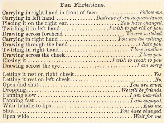 Fan Flirtations (The Mystery of Love, Courtship and Marriage Explained by Henry J Wehman, published in 1890)
