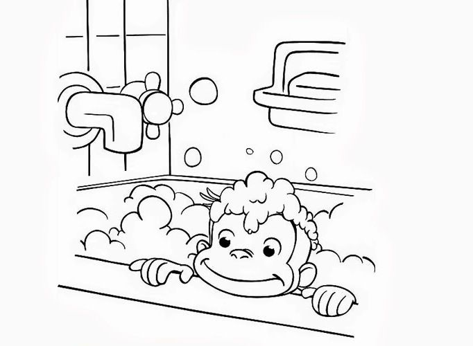 George The Monkey Was Taking A Shower Coloring Pages