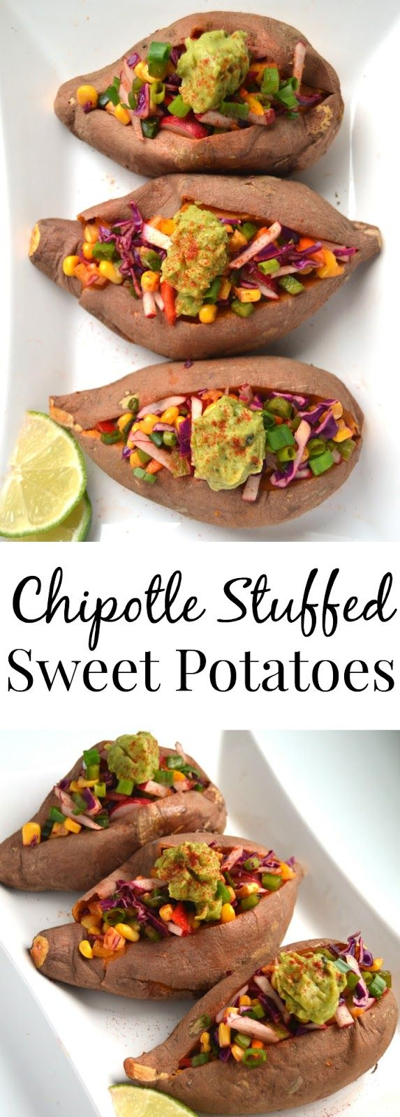 Make these for Cinco De Mayo! These chipotle stuffed sweet potatoes are fresh and full of flavor! They are packed full of vegetables for a delicious and nutritious side dish. www.nutritionistreviews.com