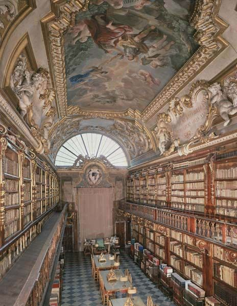 Library Riccardiana, Florence, Italy. The iconography of the fresco, designed by Alessandro Segni, was made with speed by Luca Giordano (1632–1705).