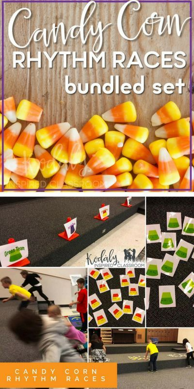 Elementary Music Class - Halloween / Fall Music Game - Candy Corn Rhythms {Bundled Set}. The teacher reads, claps, or plays the rhythm and one person from each races to find the correct rhythms. Which team will win? Great game to practice and assess rhyth
