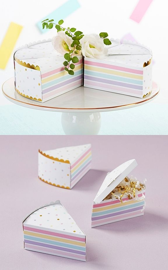 kate aspen colorful cake slice shaped favor boxes set of 12 personalized gifts and party favors