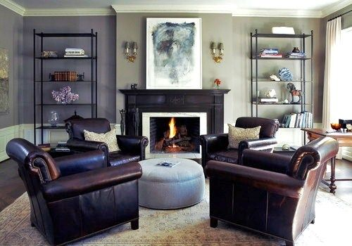 Classic chic conversation area and open bookcase on pinterest for Living room conversations