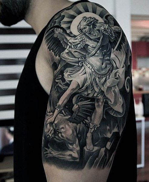 82ce2dd57 Guardian Angel fighting fearlessly with demon - sleeve tattoo ...