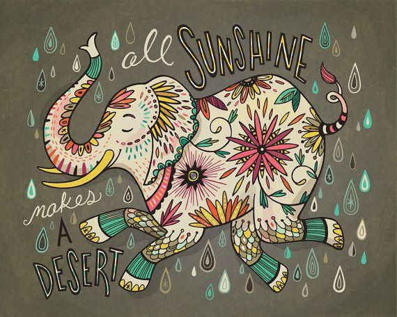 "Elephant illustration print All Sunshine Makes a Desert, 8x10"""