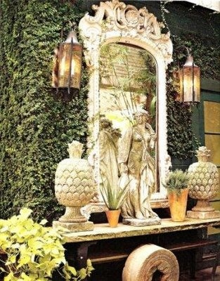 FOYER EXTERIORS: Gardens Ideas, Modern Gardens, Vintage Mirror, Favorite Places, Outdoor Living, Outdoor Rooms, Outdoor Spaces, Gardens Design, Outdoor Mirror Ideas