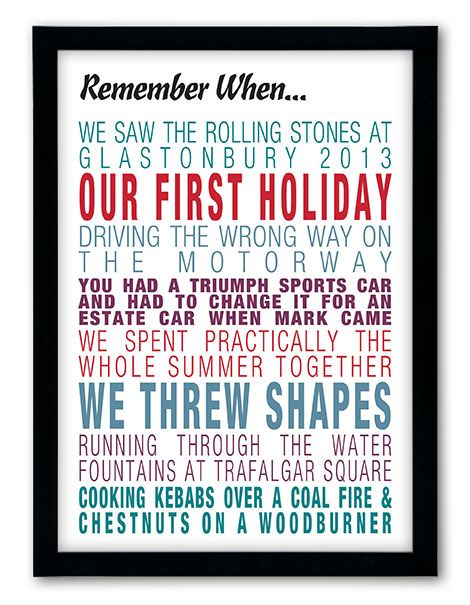 Our new Remember When print now comes in a variety of different colour options. Create your own here http://www.chatterboxwalls.co.uk/personalised-prints/remember-when-prints/remember-when-3
