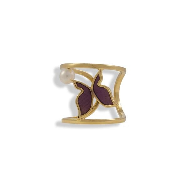 Gold Plated Silver Ring With A Pearl And Red Enamel Burrerfly - Anthos Crafts - 1