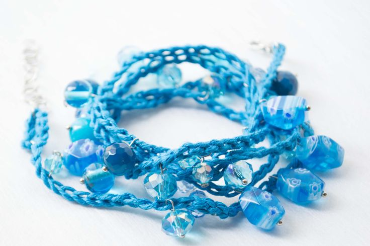 Bead Wrap Bracelet Blu Colors Layers Quality Glass Beads  Crystal  Agata Blu Murano glass Bracelets For Women Knitting by…