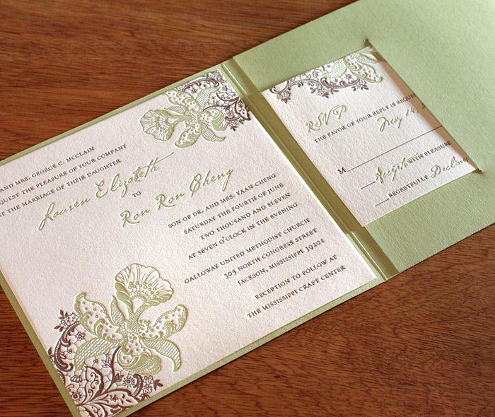 orchid letterpress wedding invitation by invitations by ajalon