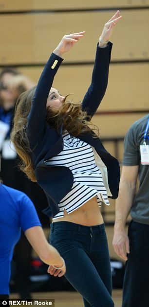 The Duchess of Cambridge played volleyball today as she took part in a SportsAid workshop at the former site of the Olympic Park in London