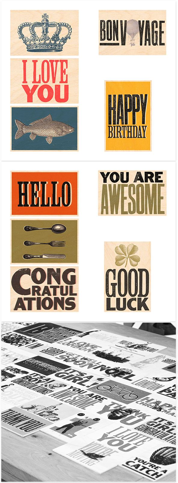 Set of 10 mixed greeting postcards by Timbergram
