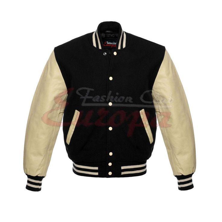 Black Wool and Cream Leather Letterman Varsity Jacket for Men