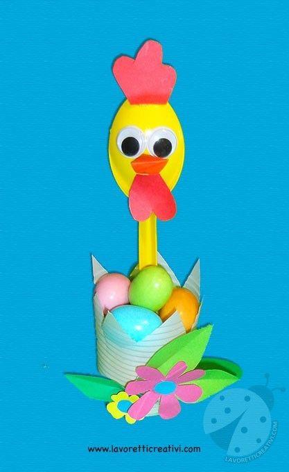 Tra i lavoretti di Pasqua semplici per bambini potete realizzare questa allegra gallinella porta ovetti di cioccolata.