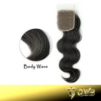 Free Shipping Body Wave 4''x3.5'' (H/L) Lace Closure Slightly Bleached Knots Top Grade Brazilian Virgin Hair Free Parted