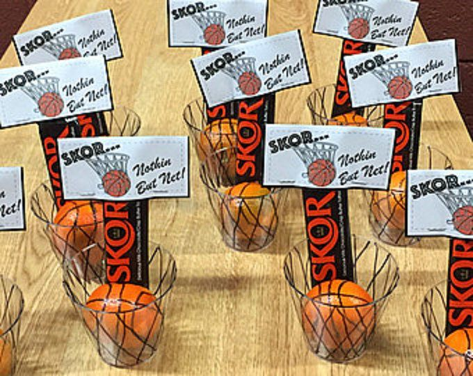 Great for treat moms, end of the season parties or coaches gifts! Simply print on card stock, cut out and fold. Attach to a Skor Candy Bar. For a super cute treat, add a plastic cup and an orange (Cutie), draw lines on them to look like a basketball and net and put the candy bar in them (shown in pictures). Super easy and so adorable! NOTE: If you would like me to personalize them, just message me BEFORE you purchase. I can make them with a female basketball player, too. I can also custom…