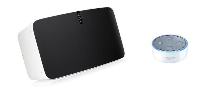 Amazon Echo Dot and Sonos PLAY:5 speaker
