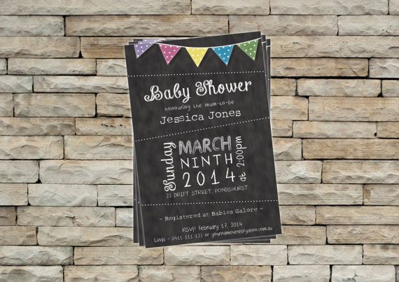 Baby Shower Invitation - Chalkboard / Blackboard with bunting on Etsy
