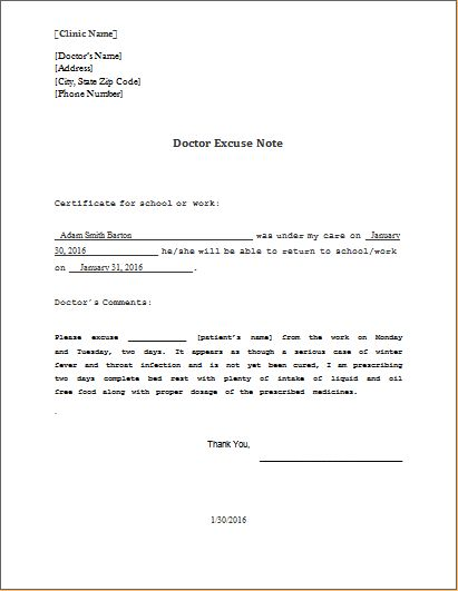 Doctor Excuse Note Template DOWNLOAD at http://www.wordexceltemplates.com/doctor-excuse-note-sample/