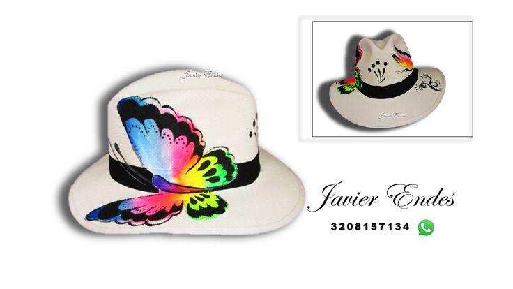 sombreros pintados a mano Javier Endes/ sombrero pintado mariposa de colores,