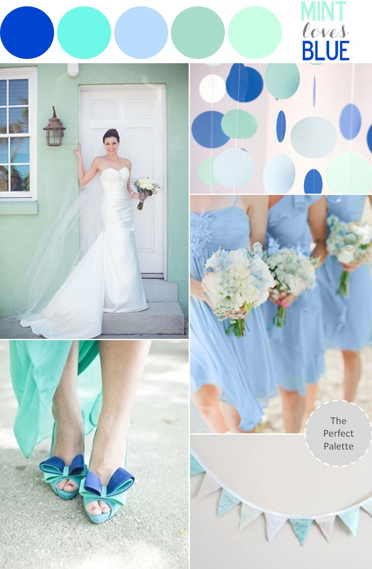 Color Study | Mint Loves Blue http://www.theperfectpalette.com/2013/04/wedding-inspiration-mint-loves-blue.html