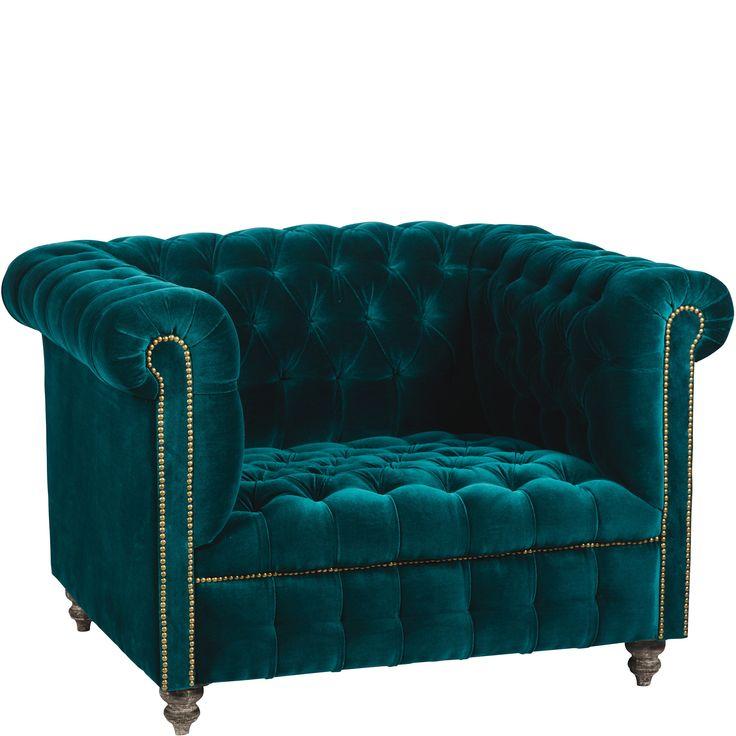Chesterfield Velvet Armchair - Teal | Chairs, Stools ...