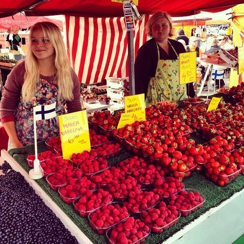 summer berries at the market in Finland