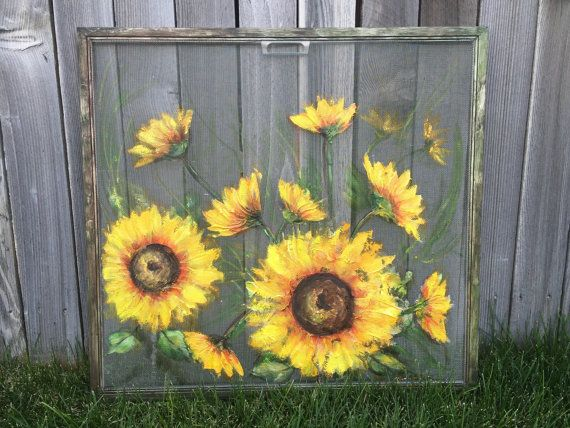Old window screen sunflowers indoor and outdoor by RebecaFlottArts