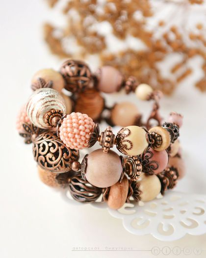 Браслеты из натуральных камней «Пряные персики»