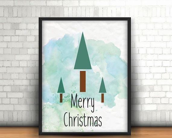 Christmas printable wall art decor merry by BeePrintDesigns