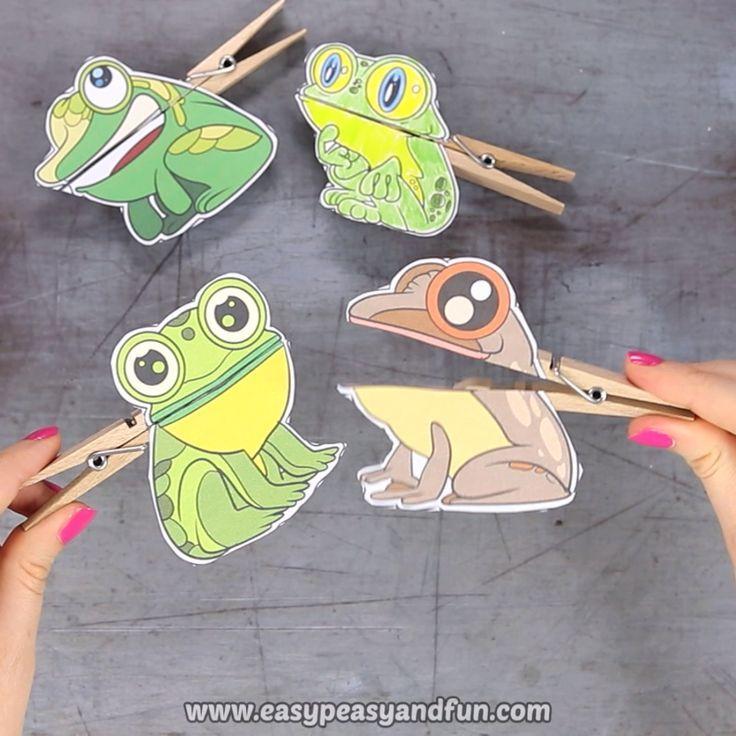 Frosch Wäscheklammer Puppen druckbare Handwerk für Kinder